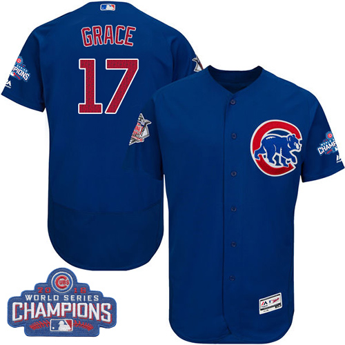 Men's Majestic Chicago Cubs #17 Mark Grace Royal Blue 2016 World Series Champions Flexbase Authentic Collection MLB Jersey
