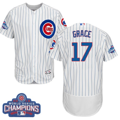 Men's Majestic Chicago Cubs #17 Mark Grace White 2016 World Series Champions Flexbase Authentic Collection MLB Jersey