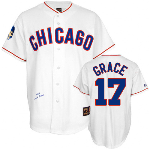 Men's Mitchell and Ness Chicago Cubs #17 Mark Grace Replica White 1968 Throwback MLB Jersey
