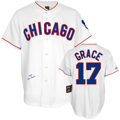 Men's Mitchell and Ness Chicago Cubs #17 Mark Grace Replica White 1988 Throwback MLB Jersey