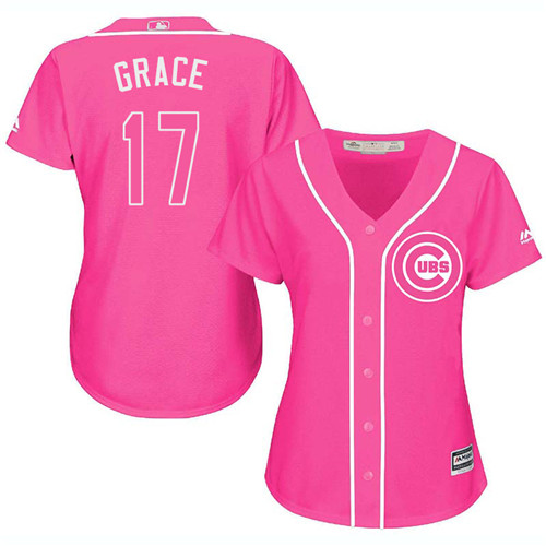 Women's Majestic Chicago Cubs #17 Mark Grace Authentic Pink Fashion MLB Jersey