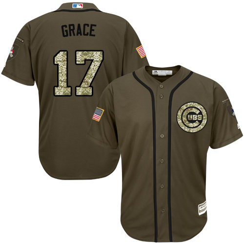 Youth Majestic Chicago Cubs #17 Mark Grace Authentic Green Salute to Service MLB Jersey