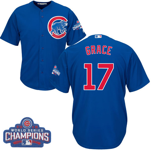 Youth Majestic Chicago Cubs #17 Mark Grace Authentic Royal Blue Alternate 2016 World Series Champions Cool Base MLB Jersey