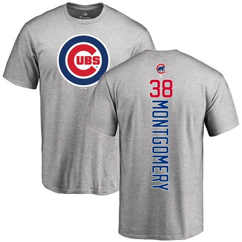 MLB Nike Chicago Cubs #38 Mike Montgomery Ash Backer T-Shirt