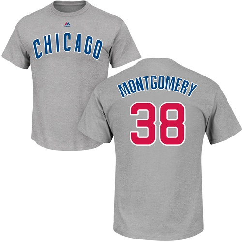 MLB Nike Chicago Cubs #38 Mike Montgomery Gray Name & Number T-Shirt