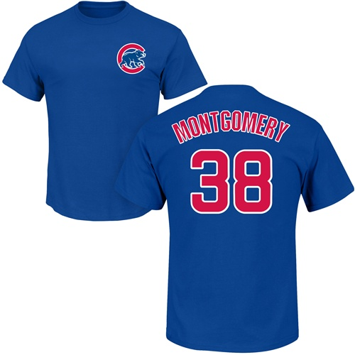 MLB Nike Chicago Cubs #38 Mike Montgomery Royal Blue Name & Number T-Shirt