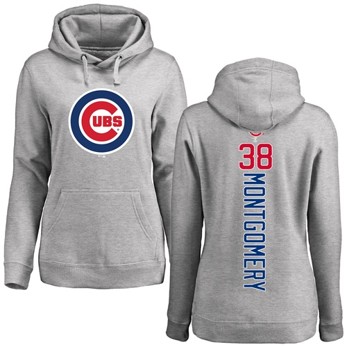 MLB Women's Nike Chicago Cubs #38 Mike Montgomery Ash Backer Pullover Hoodie