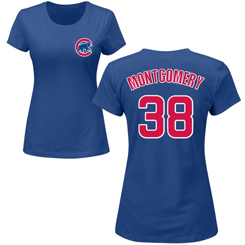MLB Women's Nike Chicago Cubs #38 Mike Montgomery Royal Blue Name & Number T-Shirt
