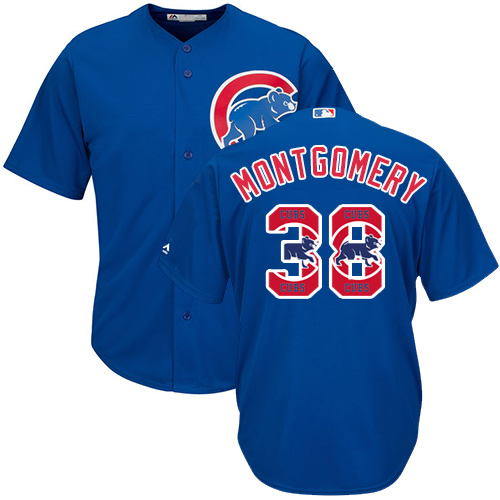 Men's Majestic Chicago Cubs #38 Mike Montgomery Authentic Royal Blue Team Logo Fashion Cool Base MLB Jersey