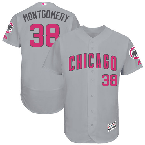 Men's Majestic Chicago Cubs #38 Mike Montgomery Grey Mother's Day Flexbase Authentic Collection MLB Jersey