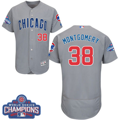Men's Majestic Chicago Cubs #38 Mike Montgomery Grey Road 2016 World Series Champions Flexbase Authentic Collection MLB Jersey
