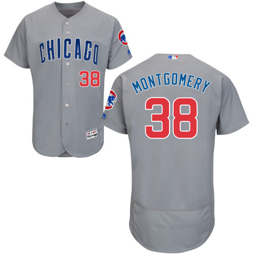 Men's Majestic Chicago Cubs #38 Mike Montgomery Grey Road Flexbase Authentic Collection MLB Jersey