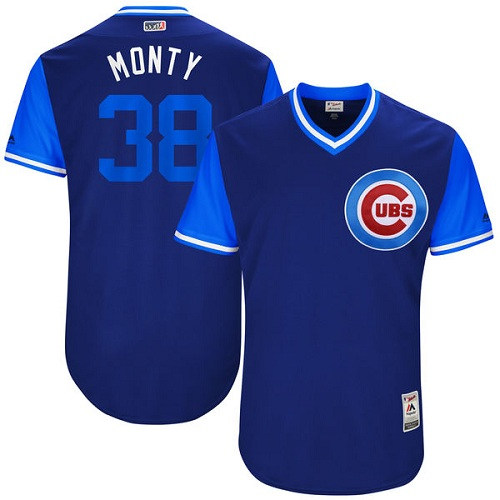 Men's Majestic Chicago Cubs #38 Mike Montgomery