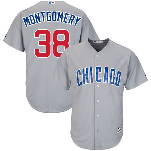 Men's Majestic Chicago Cubs #38 Mike Montgomery Replica Grey Road Cool Base MLB Jersey
