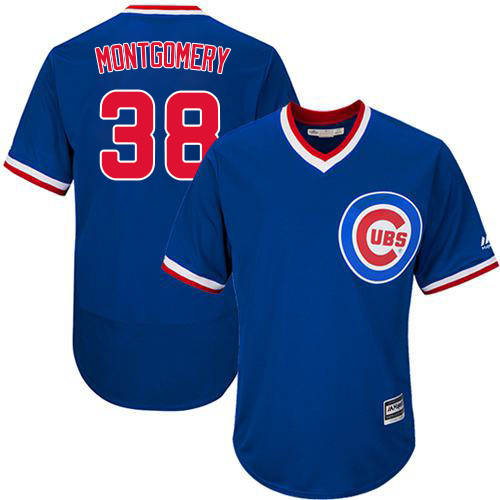 Men's Majestic Chicago Cubs #38 Mike Montgomery Replica Royal Blue Cooperstown Cool Base MLB Jersey