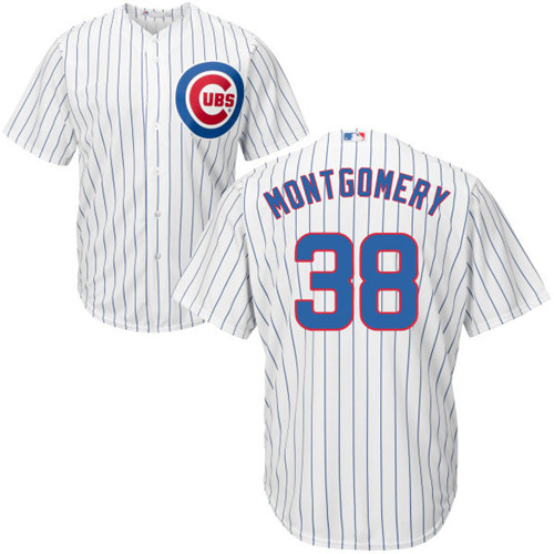 Men's Majestic Chicago Cubs #38 Mike Montgomery Replica White Home Cool Base MLB Jersey