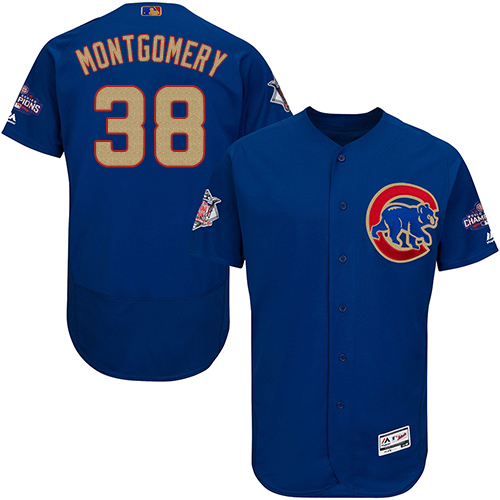 Men's Majestic Chicago Cubs #38 Mike Montgomery Royal Blue 2017 Gold Champion Flexbase Authentic Collection MLB Jersey
