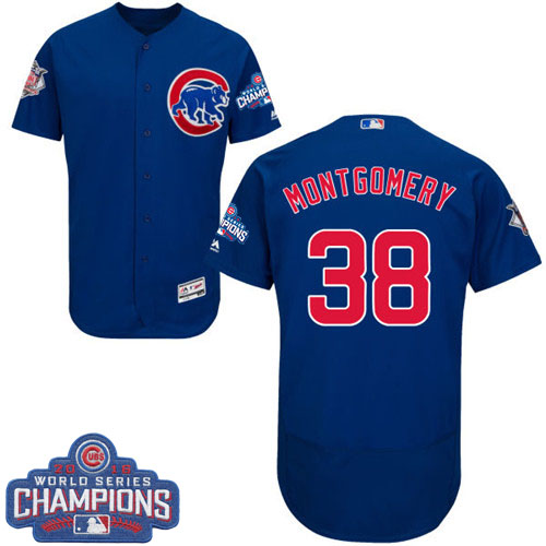 Men's Majestic Chicago Cubs #38 Mike Montgomery Royal Blue Alternate 2016 World Series Champions Flexbase Authentic Collection MLB Jersey