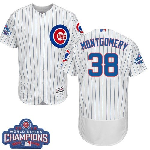 Men's Majestic Chicago Cubs #38 Mike Montgomery White Home 2016 World Series Champions Flexbase Authentic Collection MLB Jersey