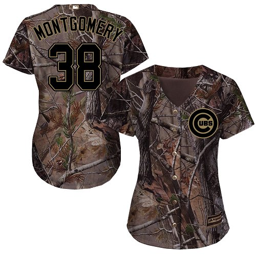 Women's Majestic Chicago Cubs #38 Mike Montgomery Authentic Camo Realtree Collection Flex Base MLB Jersey