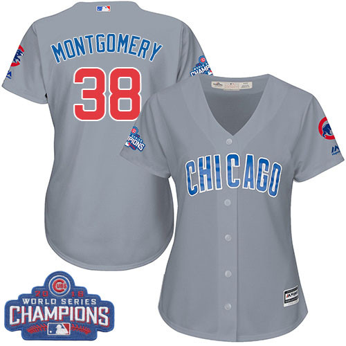 Women's Majestic Chicago Cubs #38 Mike Montgomery Authentic Grey Road 2016 World Series Champions Cool Base MLB Jersey