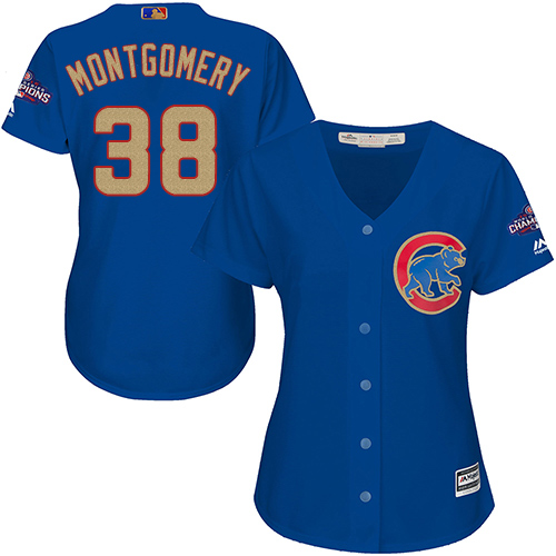 Women's Majestic Chicago Cubs #38 Mike Montgomery Authentic Royal Blue 2017 Gold Champion MLB Jersey
