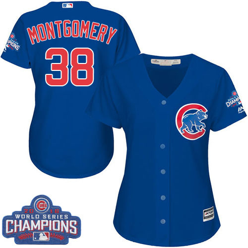 Women's Majestic Chicago Cubs #38 Mike Montgomery Authentic Royal Blue Alternate 2016 World Series Champions Cool Base MLB Jersey