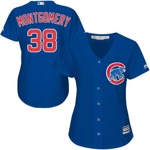 Women's Majestic Chicago Cubs #38 Mike Montgomery Authentic Royal Blue Alternate MLB Jersey