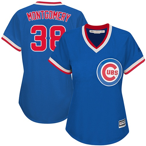 Women's Majestic Chicago Cubs #38 Mike Montgomery Authentic Royal Blue Cooperstown MLB Jersey