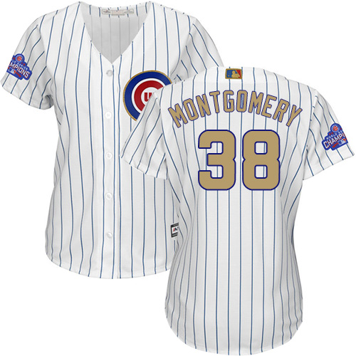 Women's Majestic Chicago Cubs #38 Mike Montgomery Authentic White 2017 Gold Program MLB Jersey