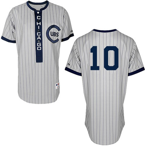 Men's Majestic Chicago Cubs #10 Ron Santo Authentic White 1909 Turn Back The Clock MLB Jersey