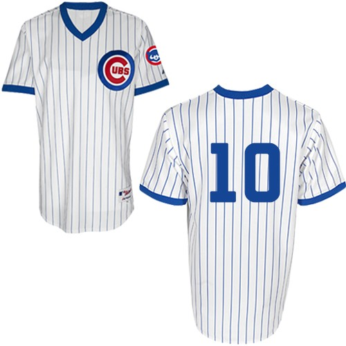 Men's Majestic Chicago Cubs #10 Ron Santo Authentic White 1988 Turn Back The Clock MLB Jersey