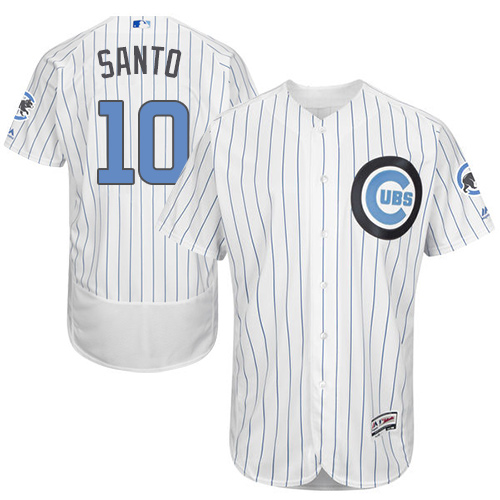 Men's Majestic Chicago Cubs #10 Ron Santo Authentic White 2016 Father's Day Fashion Flex Base MLB Jersey