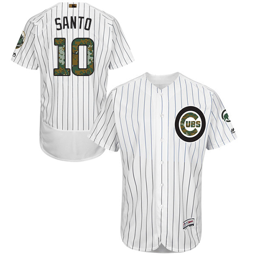 Men's Majestic Chicago Cubs #10 Ron Santo Authentic White 2016 Memorial Day Fashion Flex Base MLB Jersey