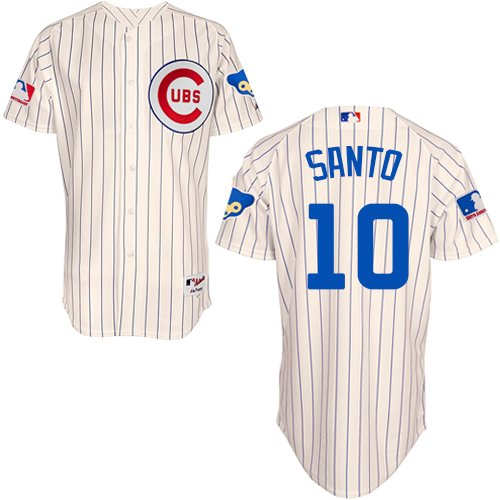 Men's Majestic Chicago Cubs #10 Ron Santo Replica Cream 1969 Turn Back The Clock MLB Jersey