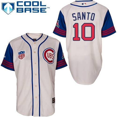 Men's Majestic Chicago Cubs #10 Ron Santo Replica Cream/Blue 1942 Turn Back The Clock MLB Jersey