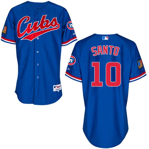 Men's Majestic Chicago Cubs #10 Ron Santo Replica Royal Blue 1994 Turn Back The Clock MLB Jersey