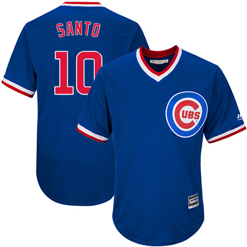 Men's Majestic Chicago Cubs #10 Ron Santo Replica Royal Blue Cooperstown Cool Base MLB Jersey