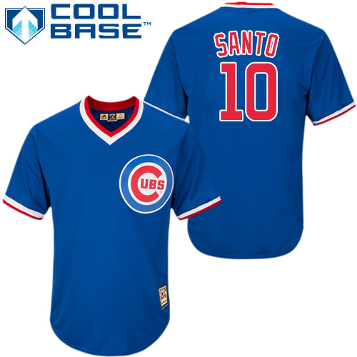 Men's Majestic Chicago Cubs #10 Ron Santo Replica Royal Blue Cooperstown MLB Jersey