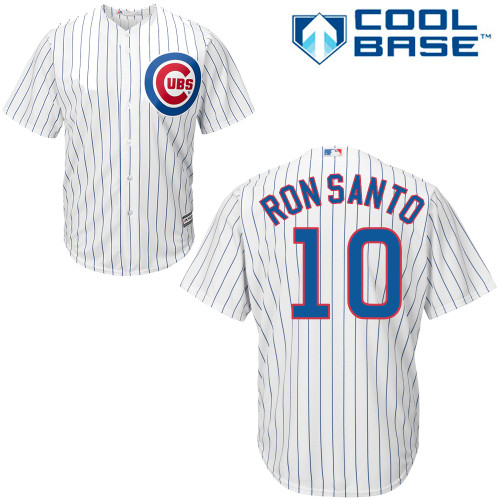 Men's Majestic Chicago Cubs #10 Ron Santo Replica White Home Cool Base MLB Jersey