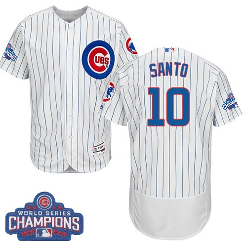 Men's Majestic Chicago Cubs #10 Ron Santo White 2016 World Series Champions Flexbase Authentic Collection MLB Jersey