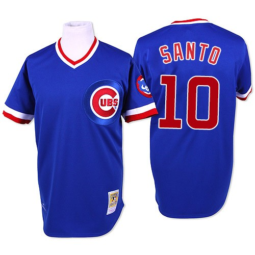 Men's Mitchell and Ness Chicago Cubs #10 Ron Santo Authentic Blue Throwback MLB Jersey