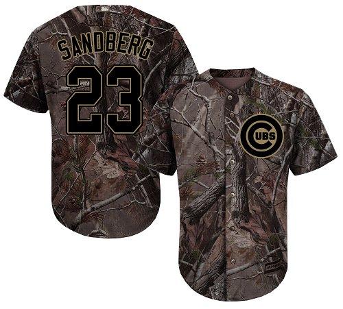 Men's Majestic Chicago Cubs #23 Ryne Sandberg Authentic Camo Realtree Collection Flex Base MLB Jersey
