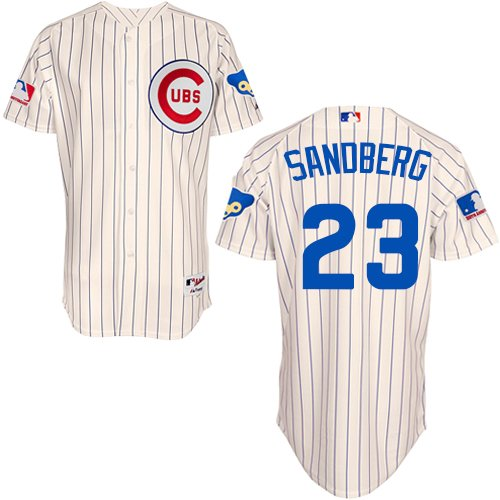 Men's Majestic Chicago Cubs #23 Ryne Sandberg Authentic Cream 1969 Turn Back The Clock MLB Jersey