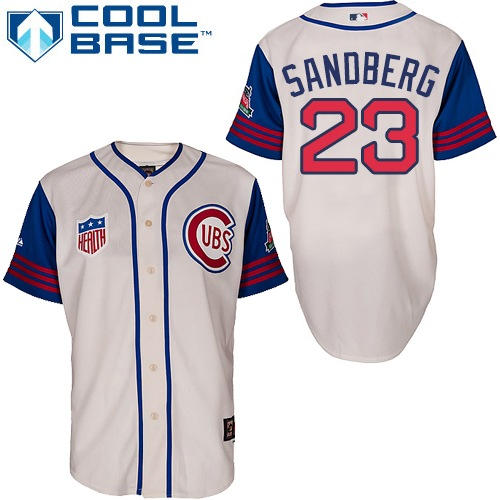 Men's Majestic Chicago Cubs #23 Ryne Sandberg Authentic Cream/Blue 1942 Turn Back The Clock MLB Jersey