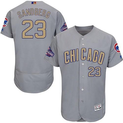 Men's Majestic Chicago Cubs #23 Ryne Sandberg Authentic Gray 2017 Gold Champion Flex Base MLB Jersey