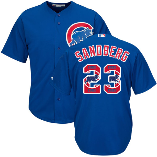 Men's Majestic Chicago Cubs #23 Ryne Sandberg Authentic Royal Blue Team Logo Fashion Cool Base MLB Jersey