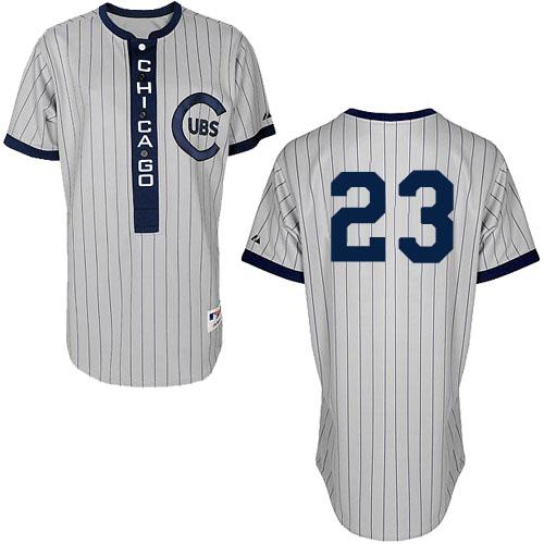 Men's Majestic Chicago Cubs #23 Ryne Sandberg Authentic White 1909 Turn Back The Clock MLB Jersey