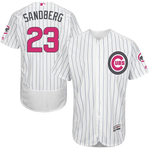 Men's Majestic Chicago Cubs #23 Ryne Sandberg Authentic White 2016 Mother's Day Fashion Flex Base MLB Jersey