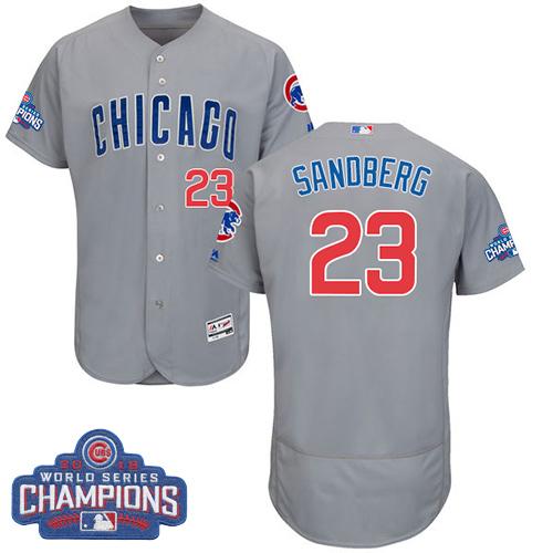 Men's Majestic Chicago Cubs #23 Ryne Sandberg Grey 2016 World Series Champions Flexbase Authentic Collection MLB Jersey
